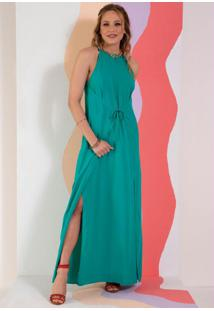 Vestido Verde Decote Halter Com Amarração