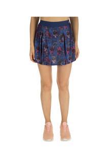 Short Saia Barbie Flowers - Feminino - Azul Esc/Rosa