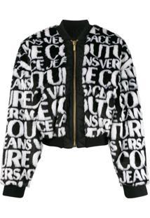 Versace Jeans Couture Logo Faux-Fur Jacket - Branco