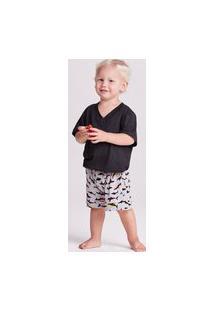 Pijama Joge Pijama Curto Malha Hawaii Kids Masculino Multicolorido