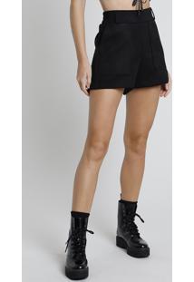 Short Feminino Bbb Em Suede Cintura Super Alta Com Bolsos Preto