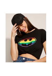 Camiseta De Algodão Pride Batman Manga Curta Decote Redondo Preta