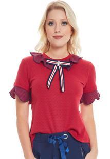 T-Shirt Camiseta Seven Days Poa E Listra Vermelha