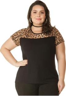 Blusa Animal Print Preto Miss Masy Plus