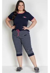 Pijama Plus Size Com Bordado Marinho E Pink