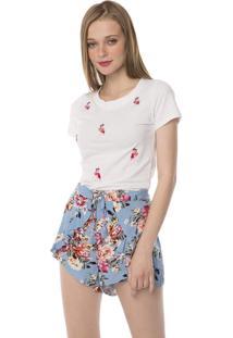 Camiseta T-Shirt Bordado Flamingos Com Pedras Pop Me Branco