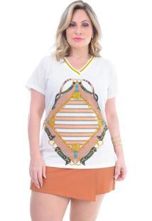 T-Shirt Plus Size Gilda: Off White: 46 - Off-White - Feminino - Dafiti