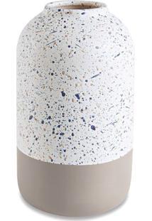 Vaso Abstrato- Branco & Bege- 20,5Xø12Cm- Martmart