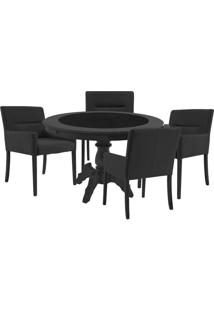 Mesa De Jogos Carteado Montreal Redonda Tampo Reversível Preto Com 4 Cadeiras Vicenza Preto Fosco - Gran Belo