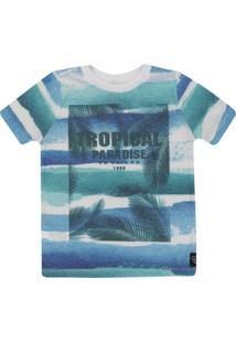 eaed259b6a Camiseta Manga Curta Infantil Tropical Masculino - Masculino-Azul