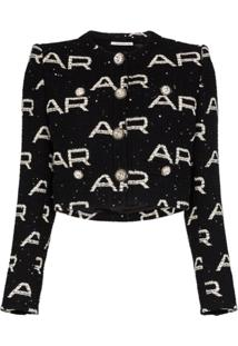 Alessandra Rich Jaqueta Cropped De Tweed Com Logo De Paetês - Preto