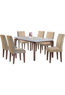 Sala De Jantar Londrina 1.80M 6 Cadeiras Café/Off White Sued Amassado Chocolate