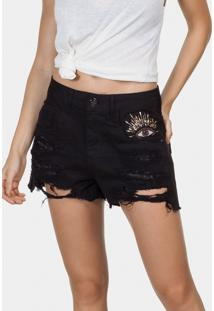 Shorts Sarja Destroyed Bordado Miami Preto Reativo - Lez A Lez