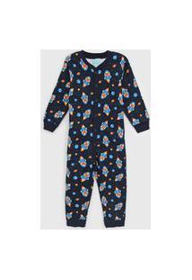 Pijama Kyly Longo Infantil Foguete Azul-Marinho