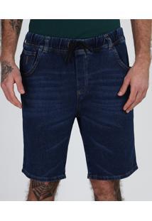Bermuda Jeans Masculina Em Moletom Relaxed Com Bolsos Azul Escuro