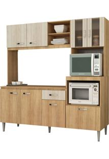 Cozinha Compacta Tati S/Tampo Carvalho/Blanche Fellicci Móveis