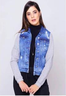 Jaqueta Jeans Com Moletom Mescla Sob Desfiada Forrada Pelinhos Feminina - Feminino-Azul