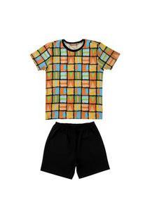 Conjunto Pijama De Geométrico Douvelin Laranja