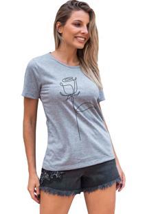 Camiseta Basica My T-Shirt Rosa De Linhas Mescla - Cinza - Feminino - Algodã£O - Dafiti