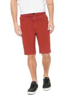 Bermuda Sarja Quiksilver Slim Street Color Vermelha