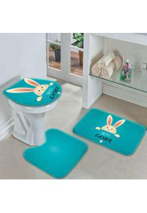 Jogo Tapetes Para Banheiro Páscoa Blue Happy Easter