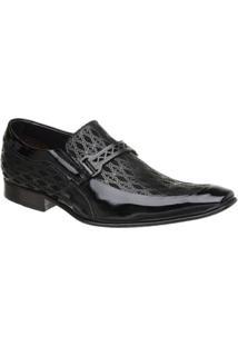 Sapato Malbork Em Couro Verniz E Nobuck Estampado 353 - Masculino-Preto