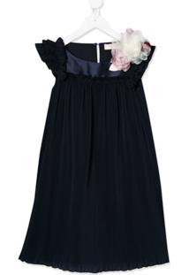 Monnalisa Vestido Com Acabamento De Babados - Azul