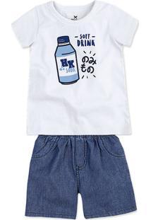 Conjunto Bebê Menino Com Camiseta E Bermuda Jeans Hering Kids