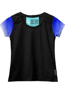 Camiseta Baby Look Feminina Algodão Estampa Estilo Leve Moda - Feminino-Azul+Preto