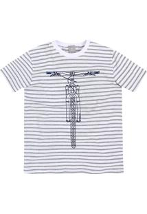 Camiseta Infantil Menino Fio Tinto Listrado Hering Kids