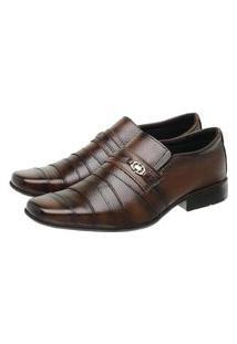 Sapato Social Masculino Couro Liso Fivela Conforto