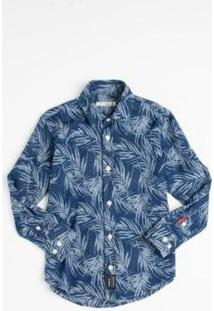 Camisa Mini Pf Jeans Pirangi Infantil Reserva Mini Masculina - Masculino-Azul Petróleo