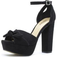 601602eb3 Sandália Meia Pata Shoes Inbox Laço Em Camurça - Feminino-Preto