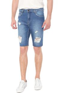 Bermuda Jeans Calvin Klein Jeans Five Pocket Reta Azul