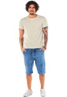 Bermuda Zinco Comfort Com Recortes Jeans