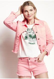 Jaqueta Feminina Em Sarja Colors Com Barra Desfiada
