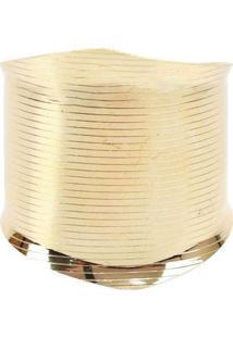 Pulseira Bracelete Com Textura De Linhas Dourado D