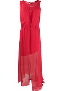 Irina Schrotter Vestido Drapeado Sem Mangas - Vermelho