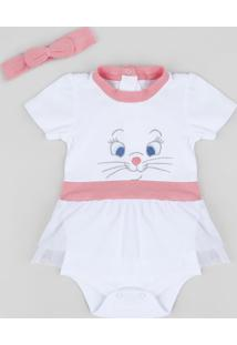 Body Saia Infantil Marie Manga Curta Decote Redondo + Faixa De Cabelo Branco