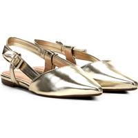 d30d282b9 Sapatilha Via Uno Chanel Bico Fino Laço Metalizada Feminina - Feminino -Dourado