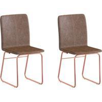 2654d70e8 Conjunto Com 2 Cadeiras Lana Rosé Gold E Marrom