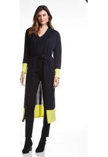 Casaco Wool Line Tricot Barrado Feminino - Feminino