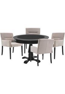 Mesa De Jogos Carteado Redonda Victoria Tampo Reversível Preto Com 4 Cadeiras Vicenza Nude - Gran Belo