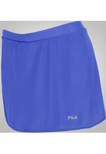 Short Saia Fila Spring - Feminino - Azul/Cinza Esc
