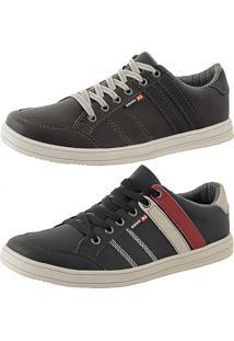 e802cf62e63 Kit Tênis Sapatenis Cr Shoes Leve E Baixo Lançamento Café E Preto