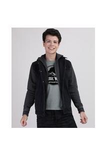 Jaqueta Jeans Juvenil Com Moletom Felpado E Capuz Preta
