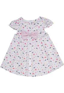 Vestido Infantil - Floral Com Laço - Algodão - Branco - Minimi - 4