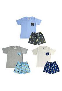 Kit 3 Pijamas Curto Menino Infantil Camiseta/Shorts Conforto