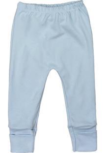 Calça De Bebê Pé Reversível Suedine Básico Azul Azul - Kanui