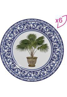 Conjunto De Pratos Para Sobremesa Vaso- Azul Escuro & Vescalla Cerâmica
